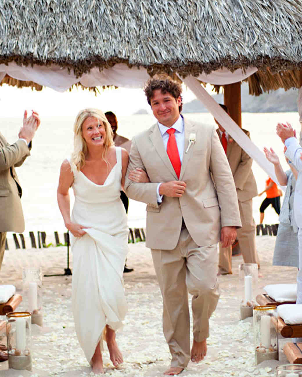 Weddings In Mexico: An Orange-and-White Intimate Beach Destination Wedding In