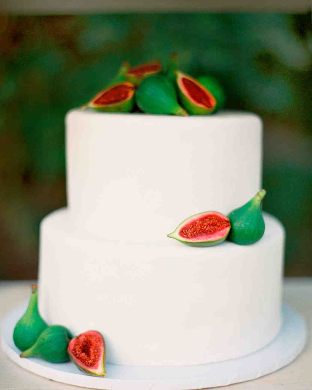 Two-Tiered White Wedding Cake with Fresh Figs