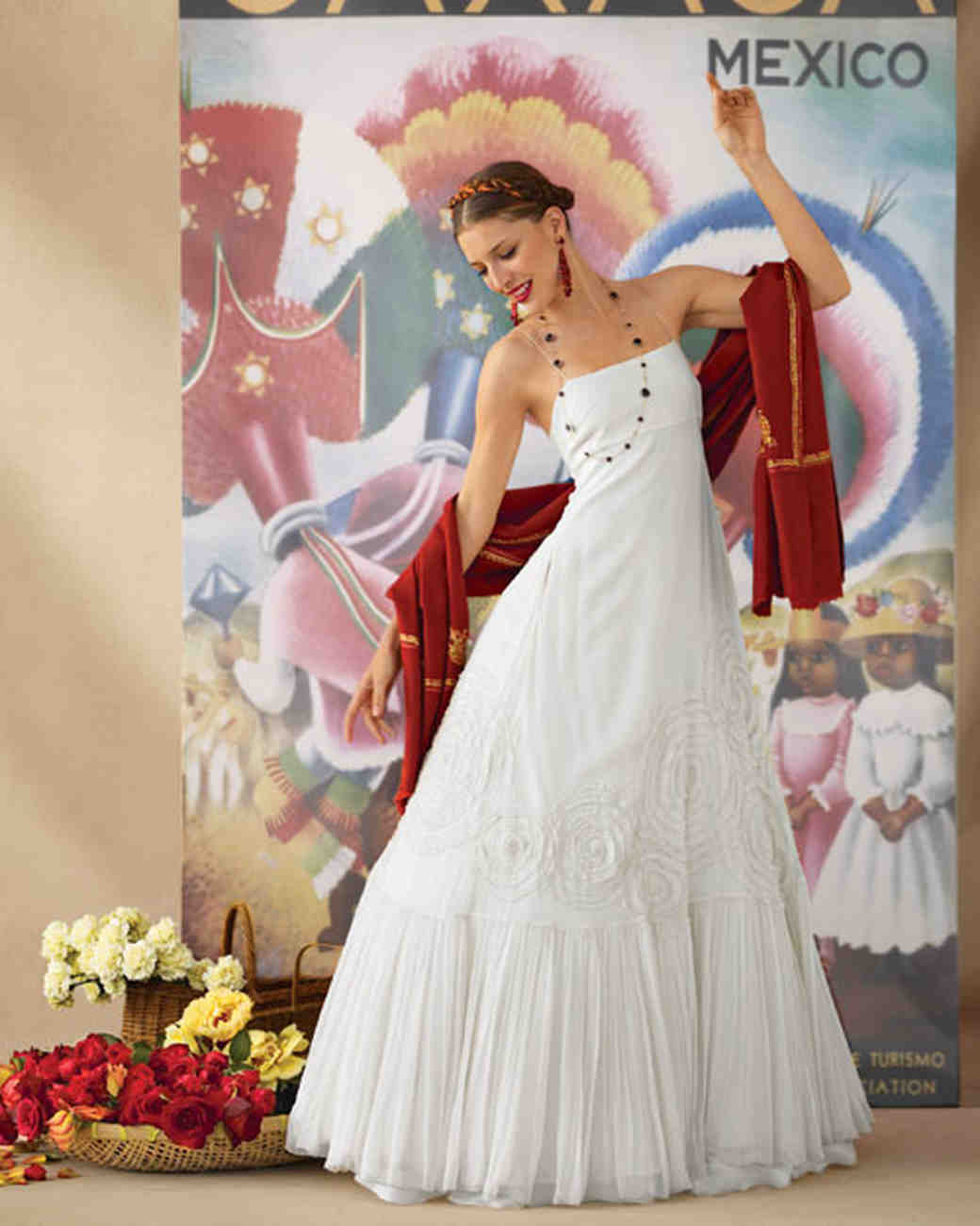 wedding dresses inspired global destinations mexican wedding dress Wedding Dress Inspired by Oaxaca Mexico