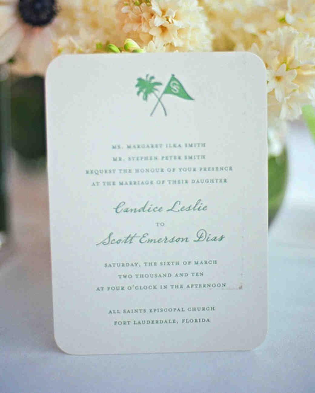 Green Palm Tree Invitation