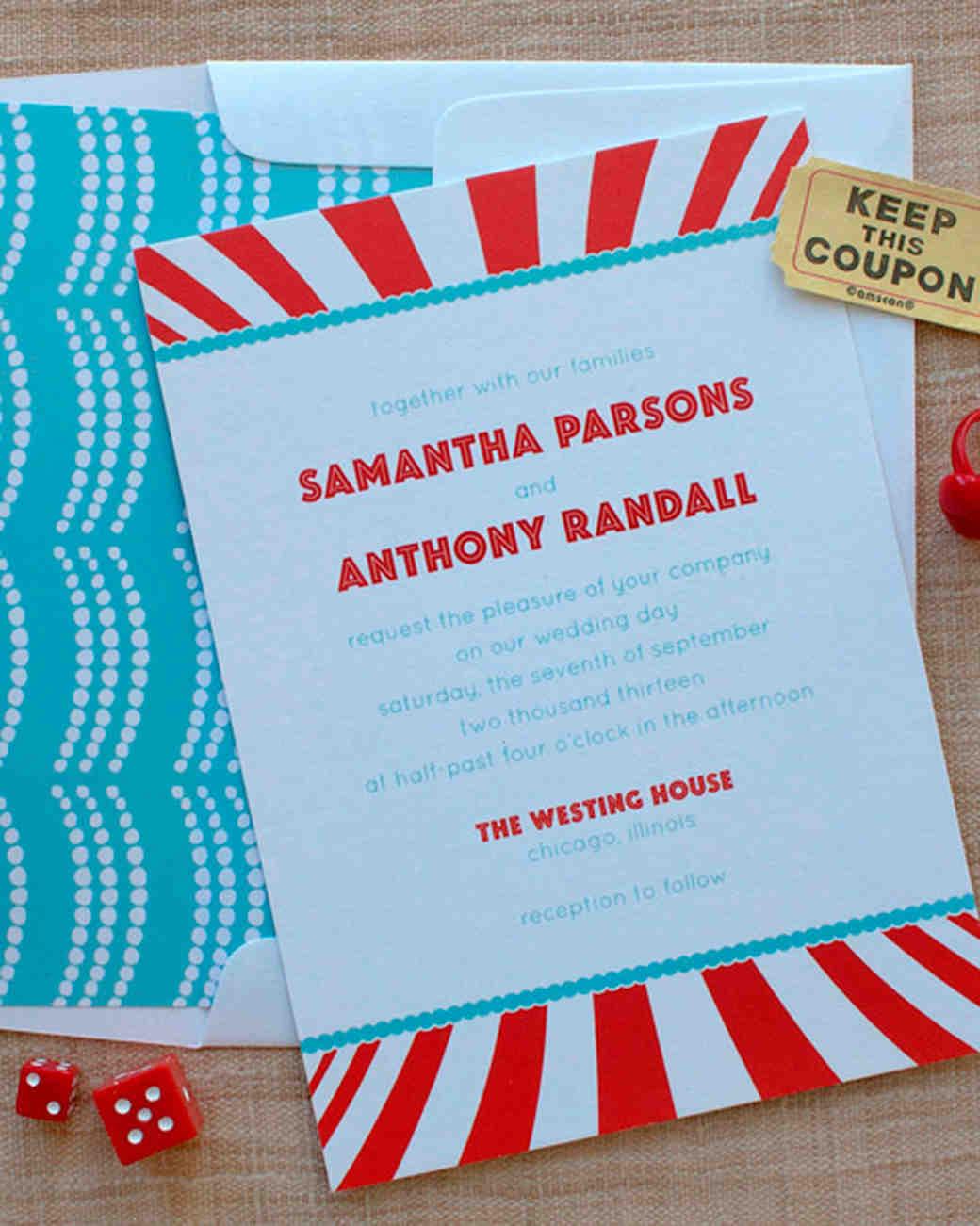 carnival-themed wedding invitation