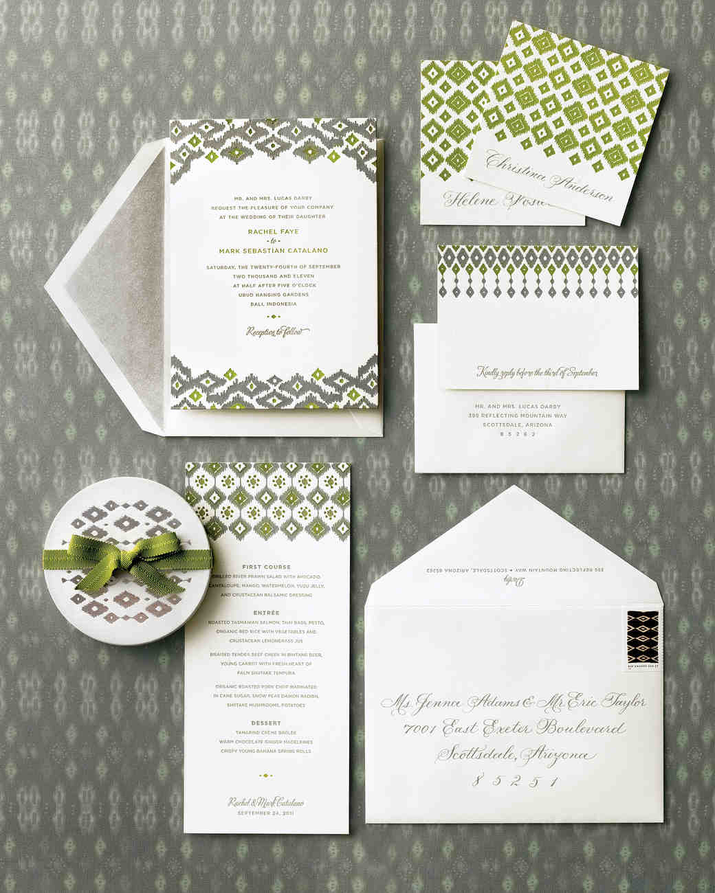 fabric-inspired wedding invitations | martha stewart weddings, Wedding invitations