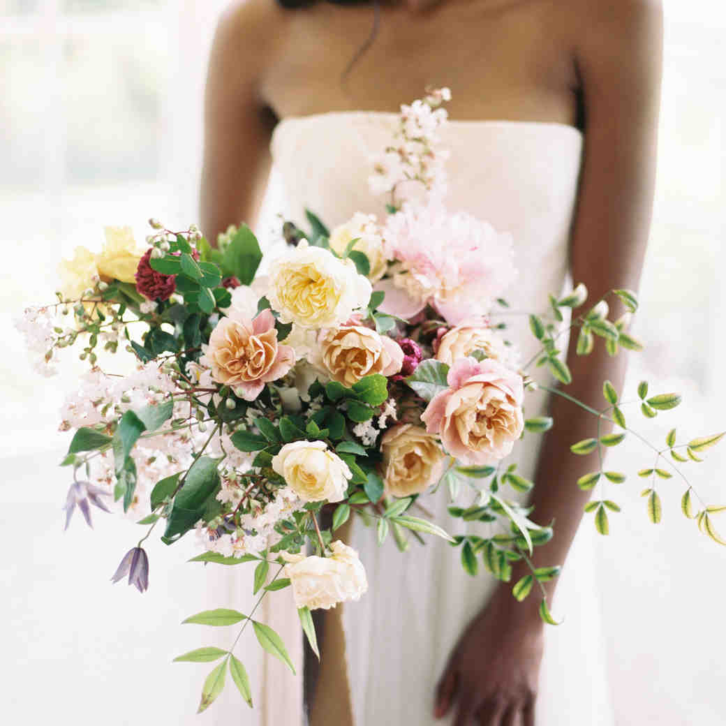 Soft rose and greenery wedding bouquet