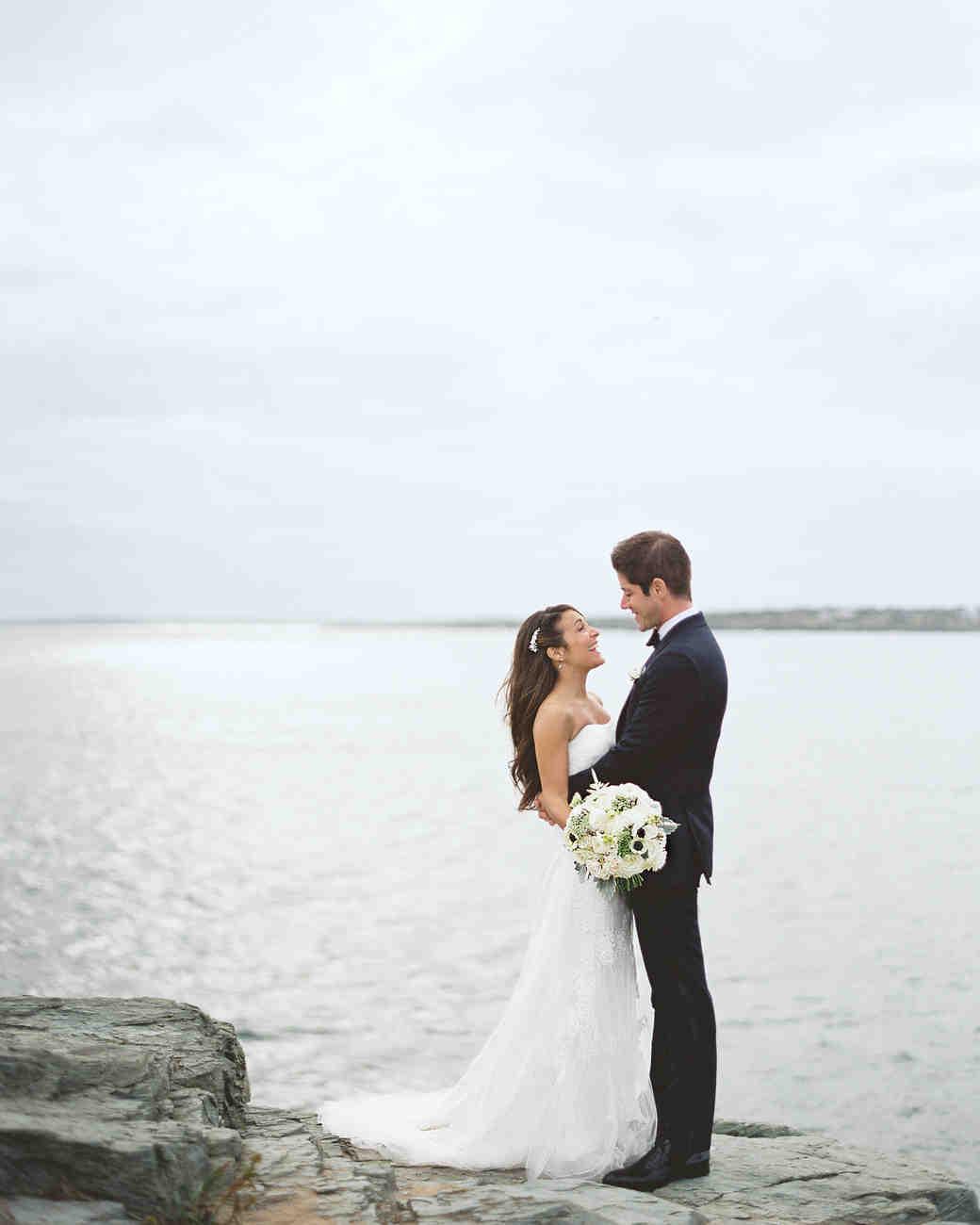bride and groom coastal wedding