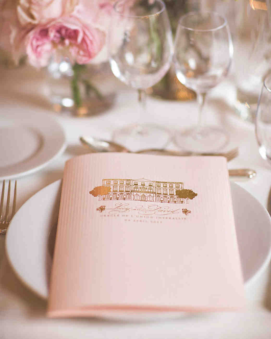 Light Pink Rehearsal Dinner Menu