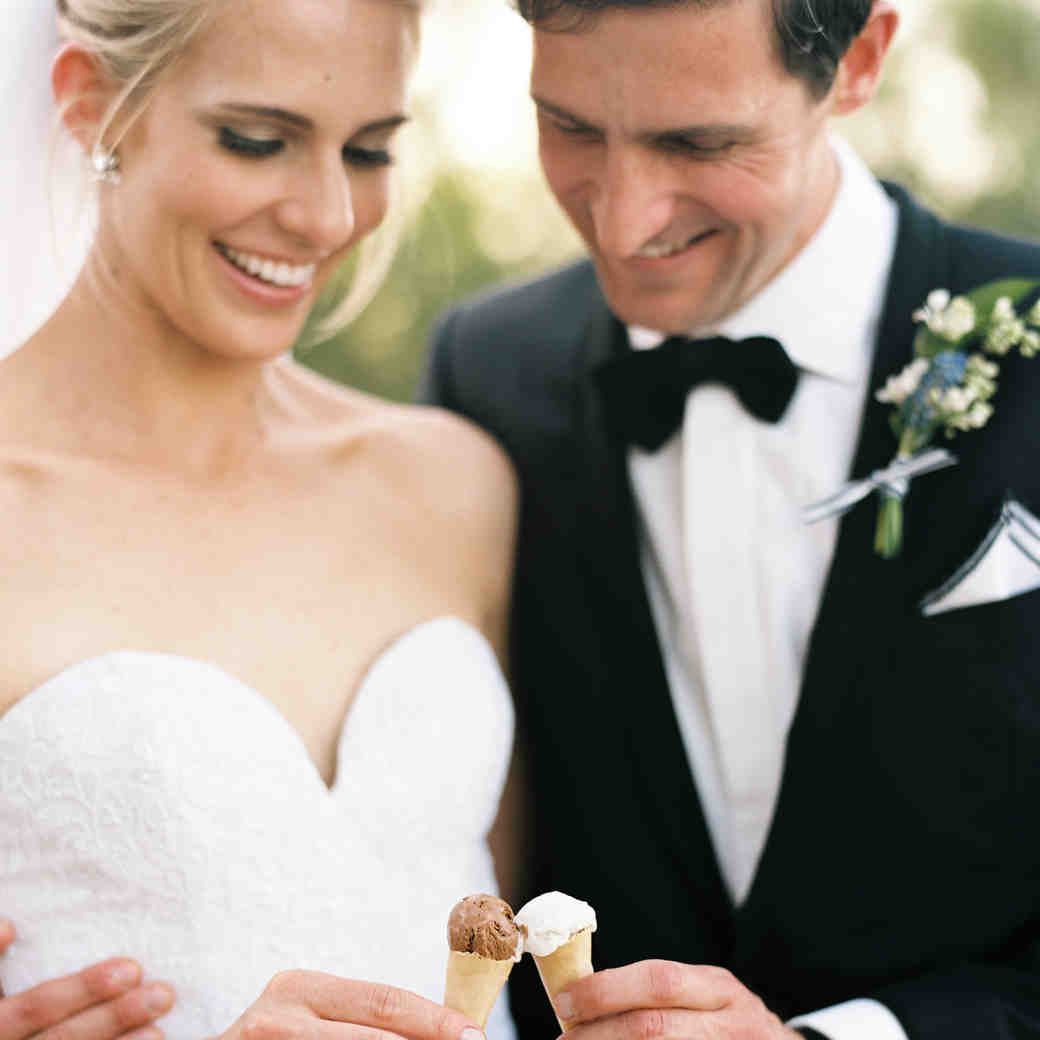Bride and Groom Holding Mini Ice Cream Cones