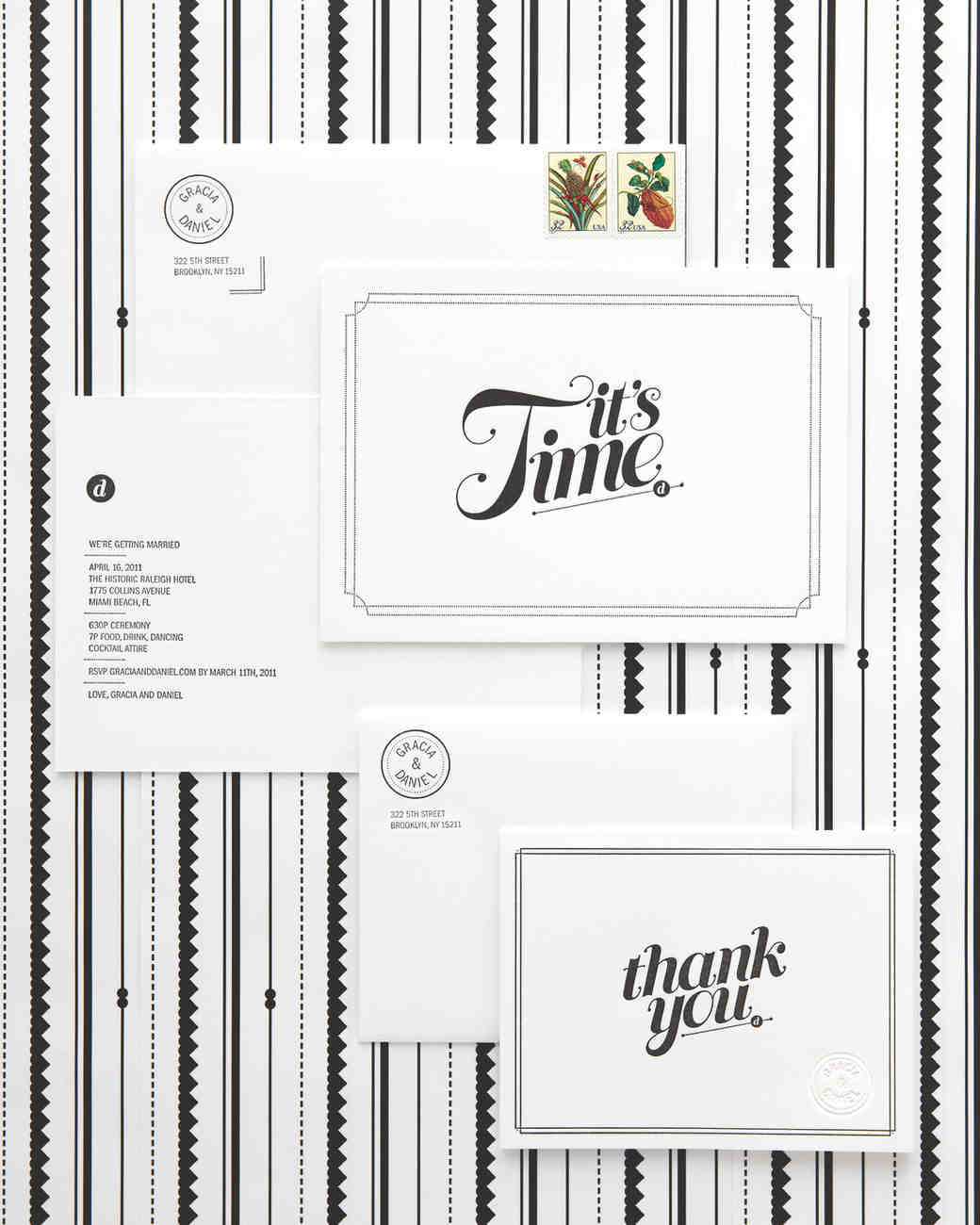 black-and-white wedding invitation