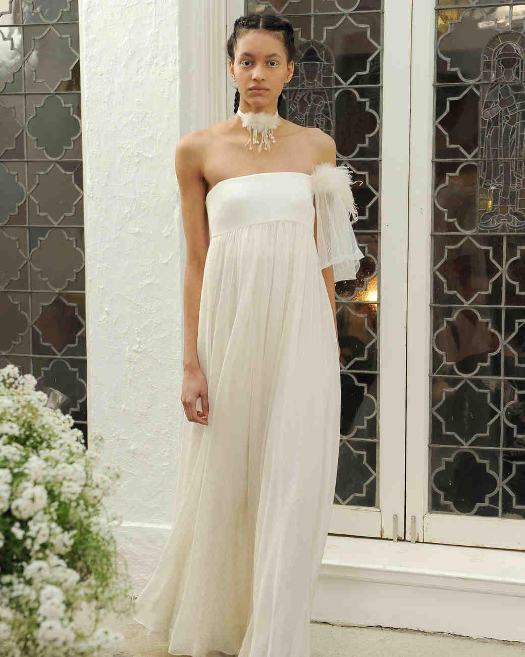 Houghton ivory and metallic strapless wedding dress