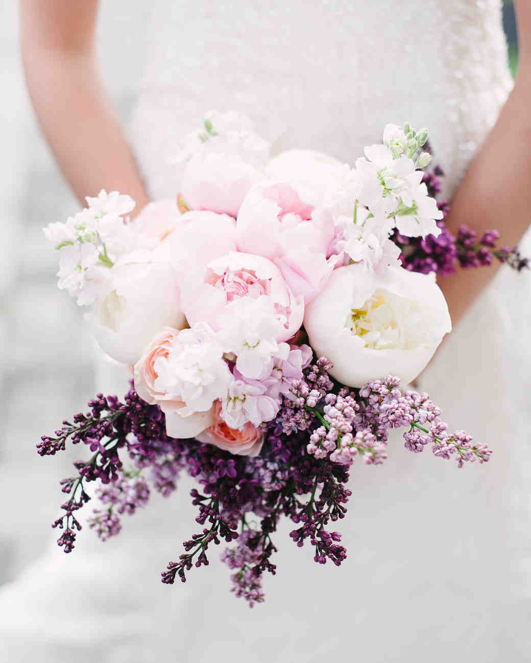 A Light Pink and White Lilac Bouquet