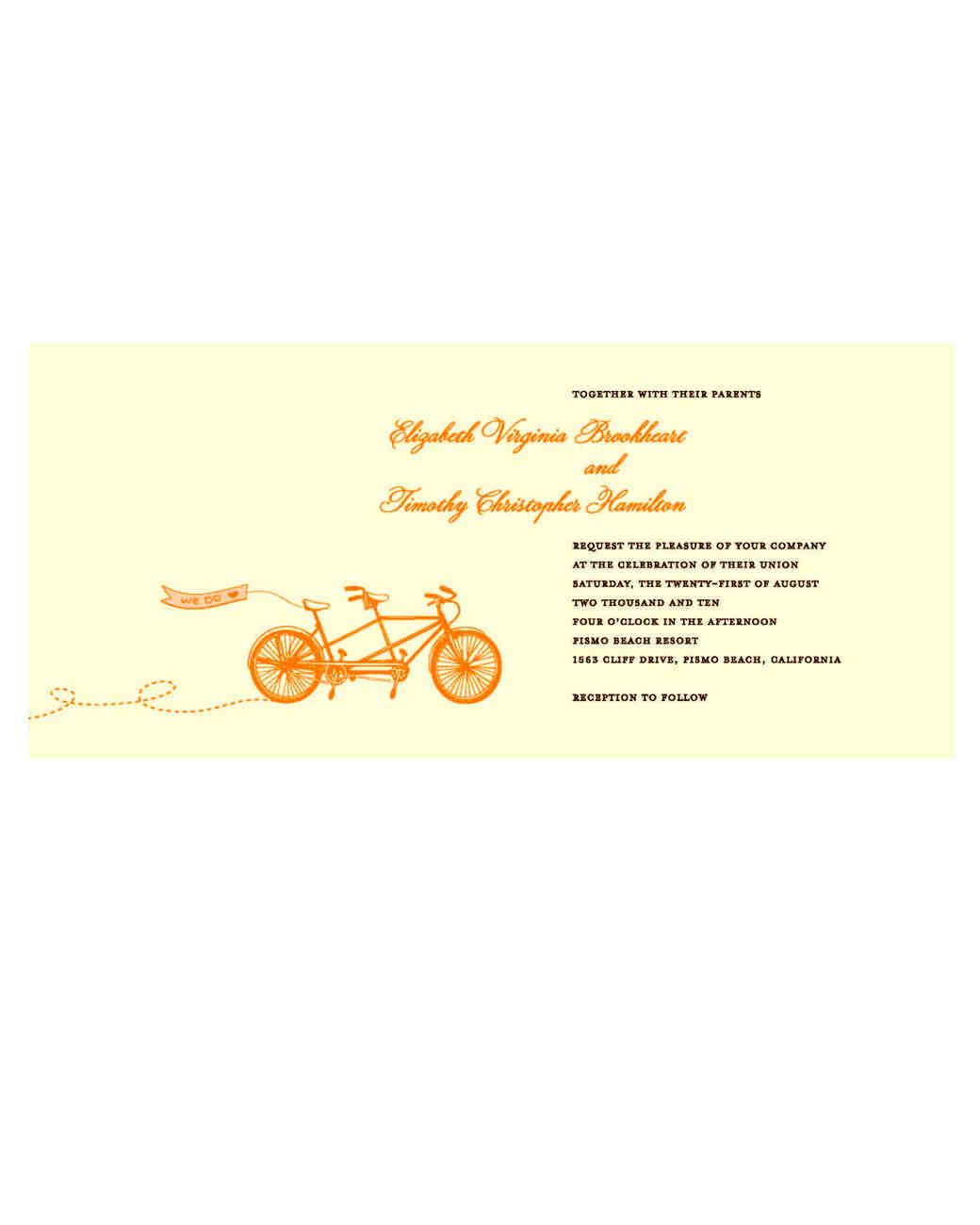 bike wedding invitation