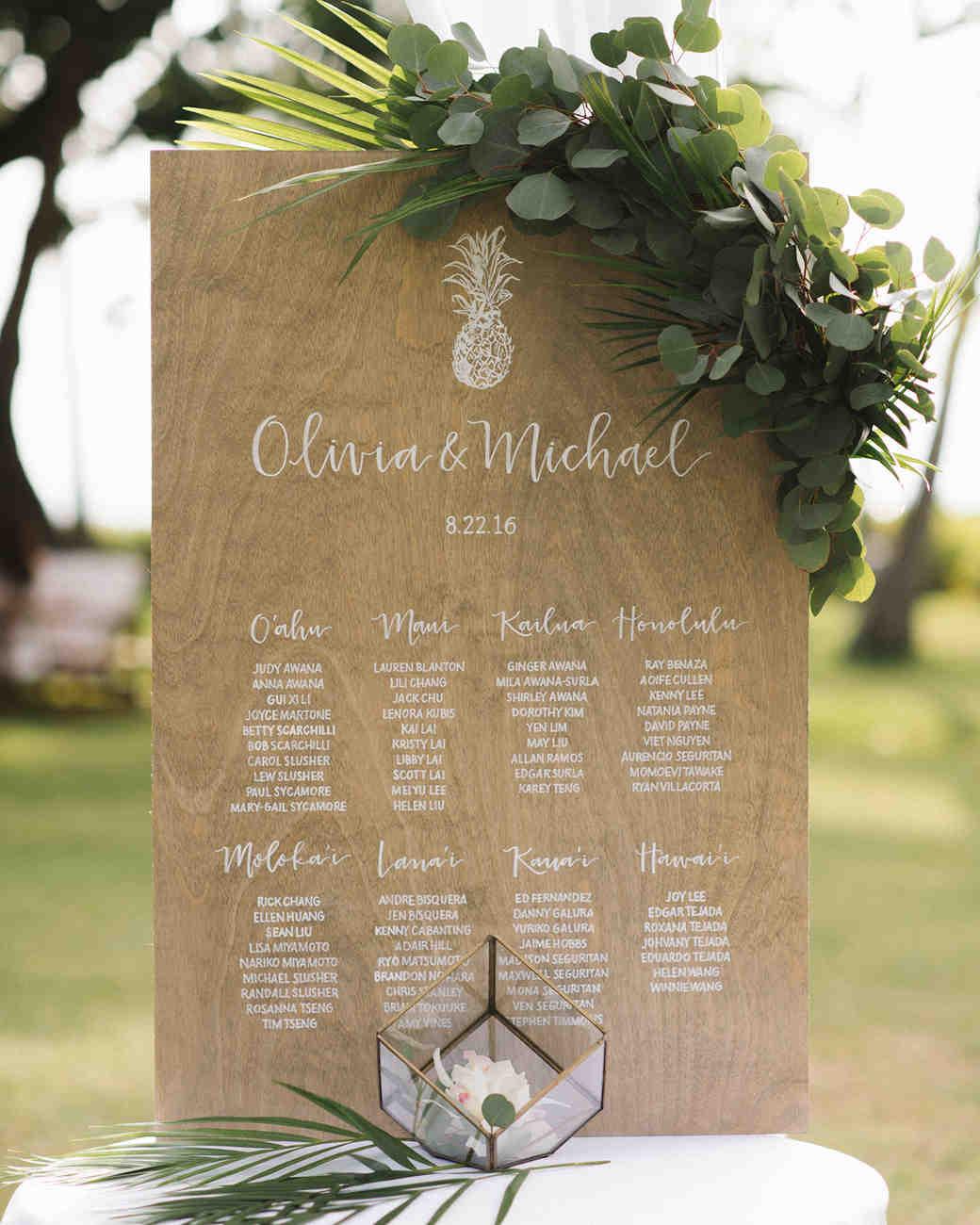 Tropical Hawaiian wedding seating chart