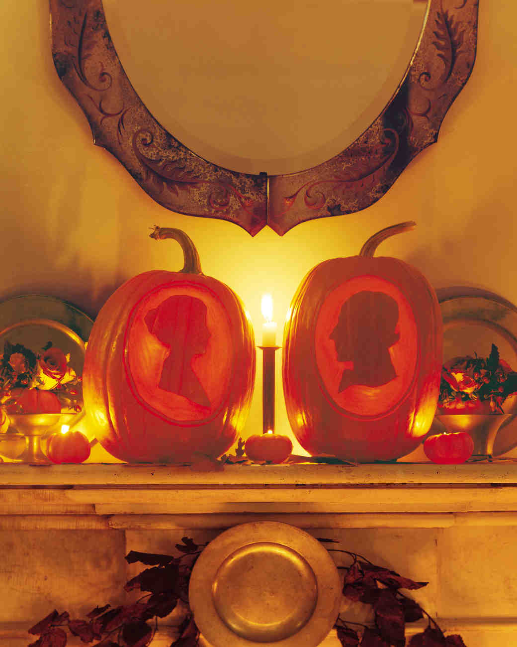 Pumpkins with Bride and Groom Silhouette Carvings