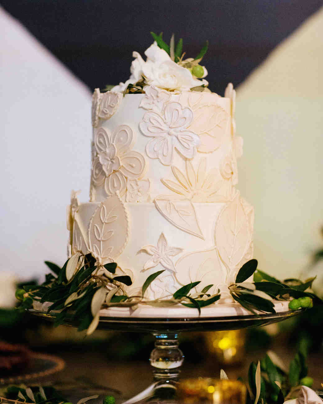 Flower Applique Wedding Cake
