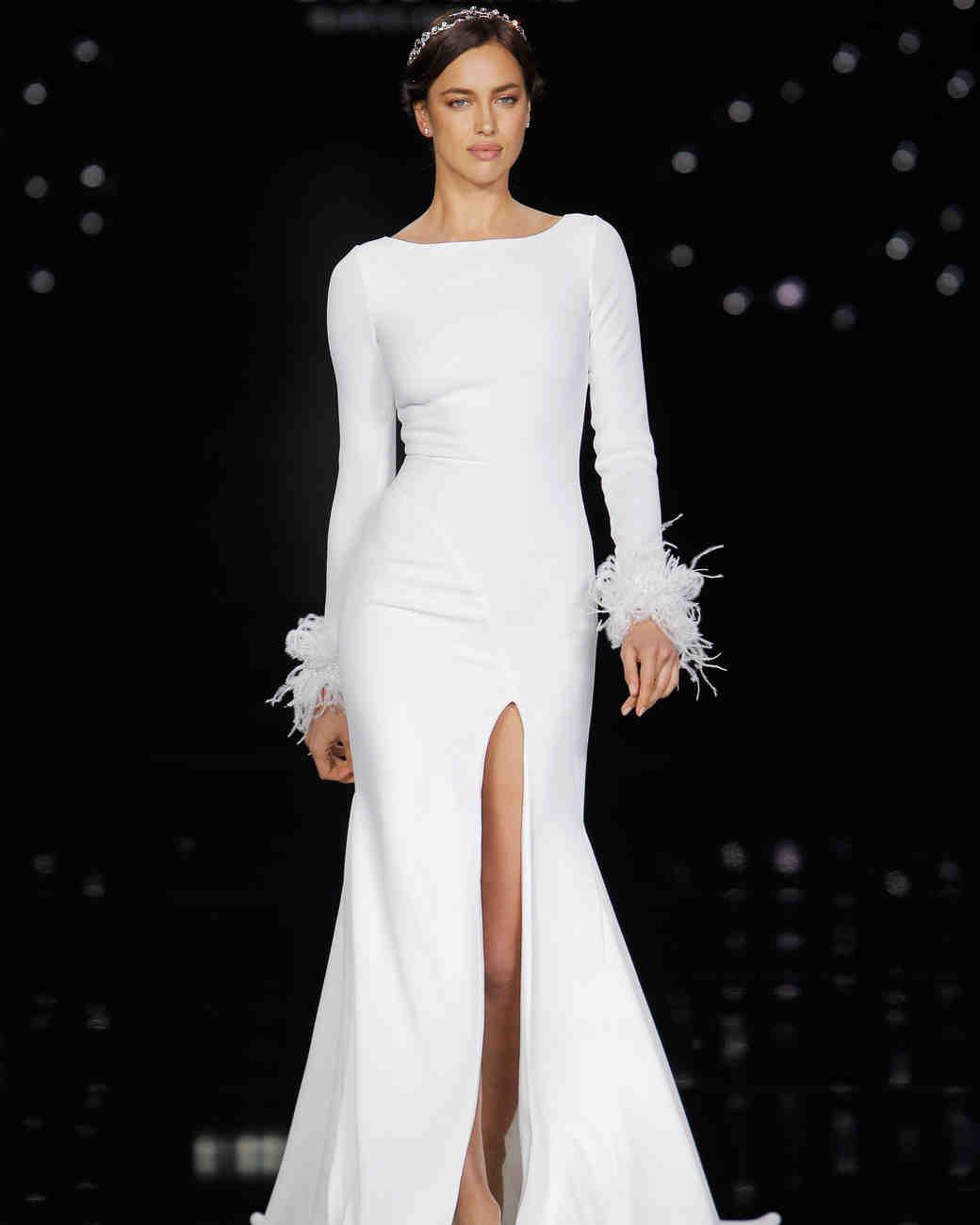 Simple Pronovias Wedding Dress with thigh high Slit