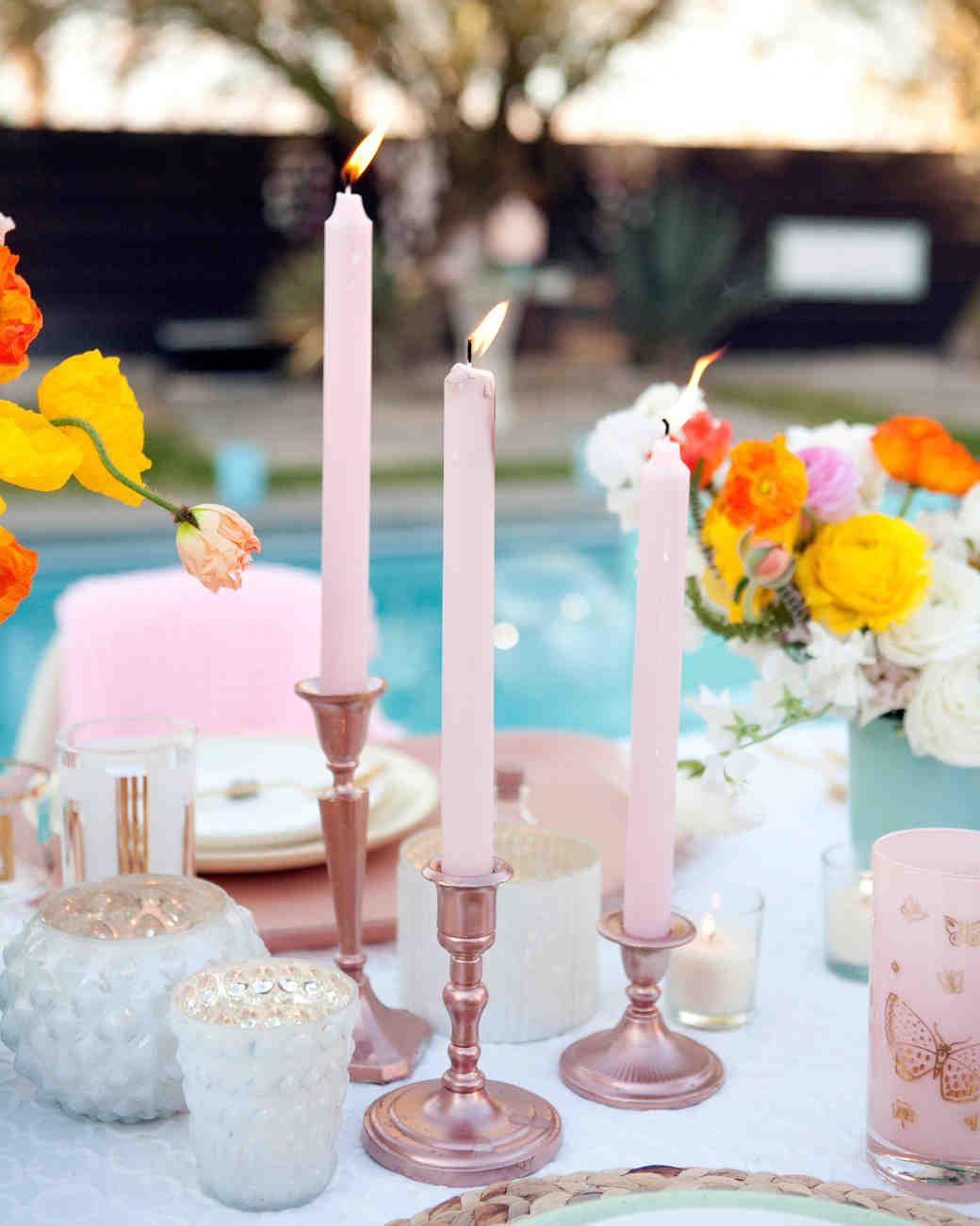 Pink Candle Wedding Centerpiece
