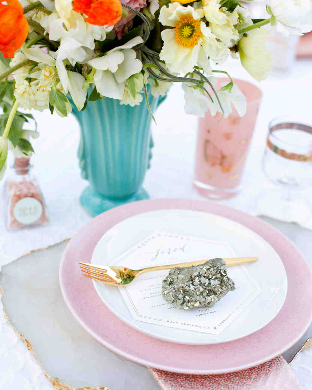 Pastel and Pyrite Table Setting