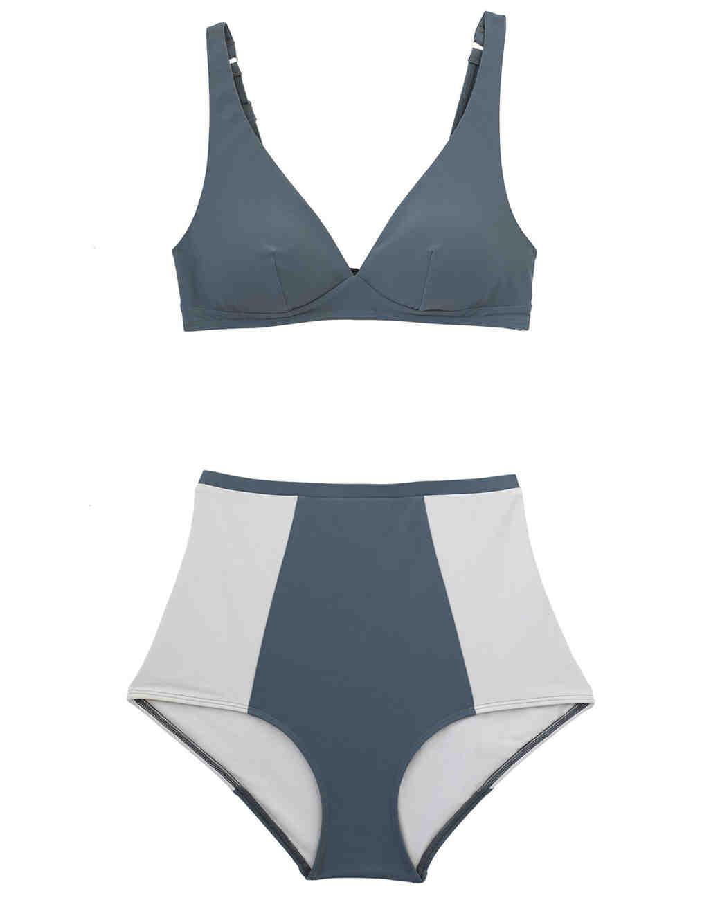 Gray Colorblock High-Waisted Bikini