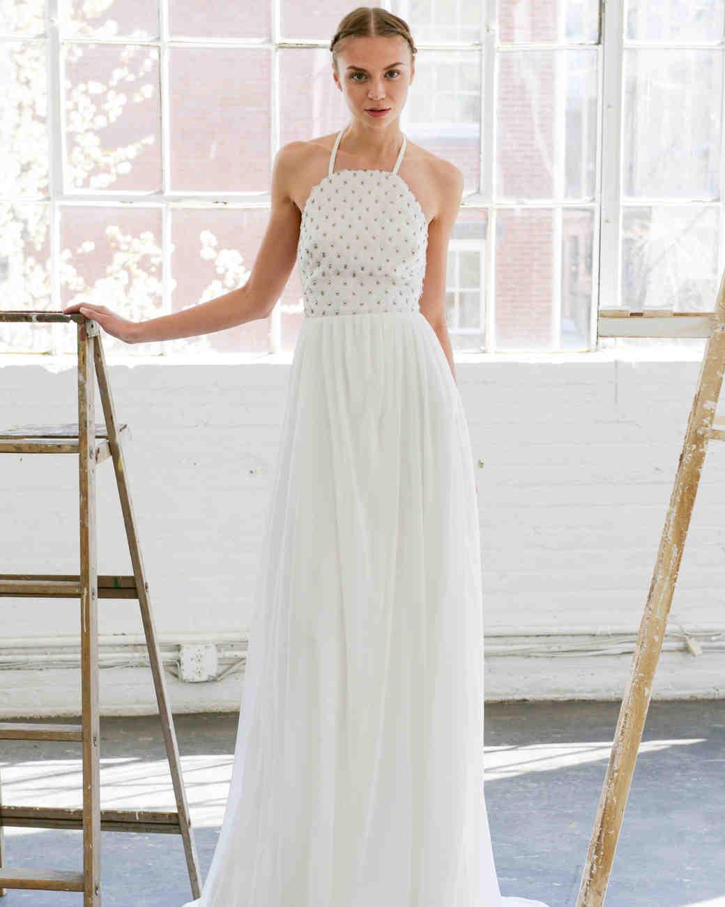 Lela Rose simple Halter Neck Wedding Dress
