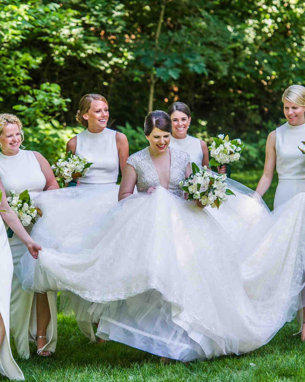 Ivory bridesmaids gowns