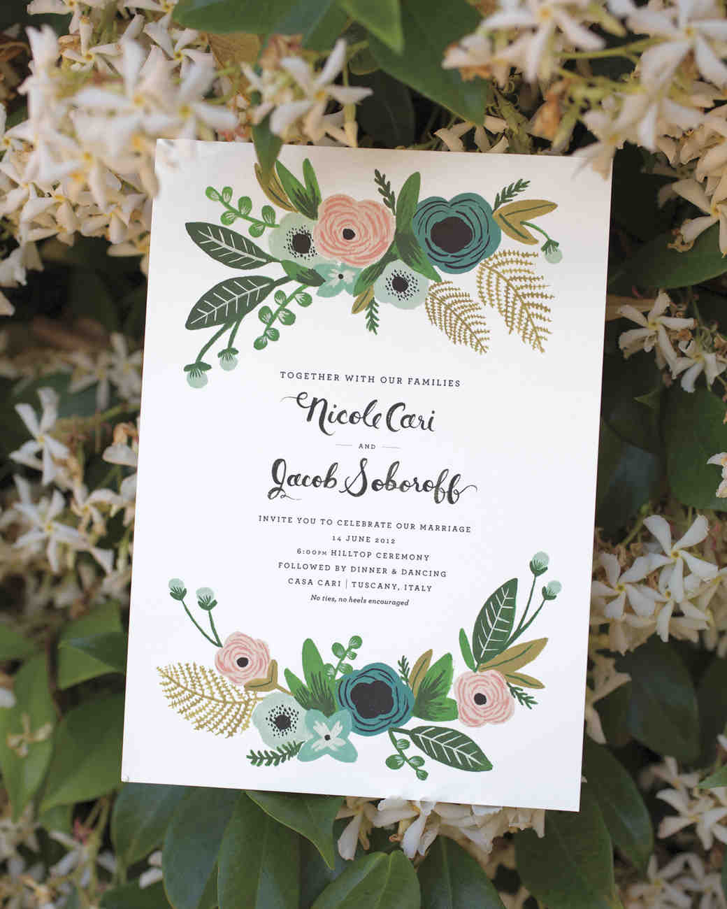 A rustic vintage and romantic destination wedding in for Wedding invitations with real flowers