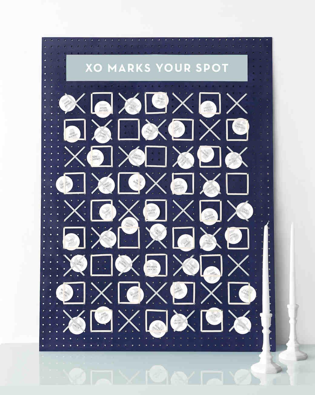 A Creative Escort Card Display Idea: XO Marks Your Spot