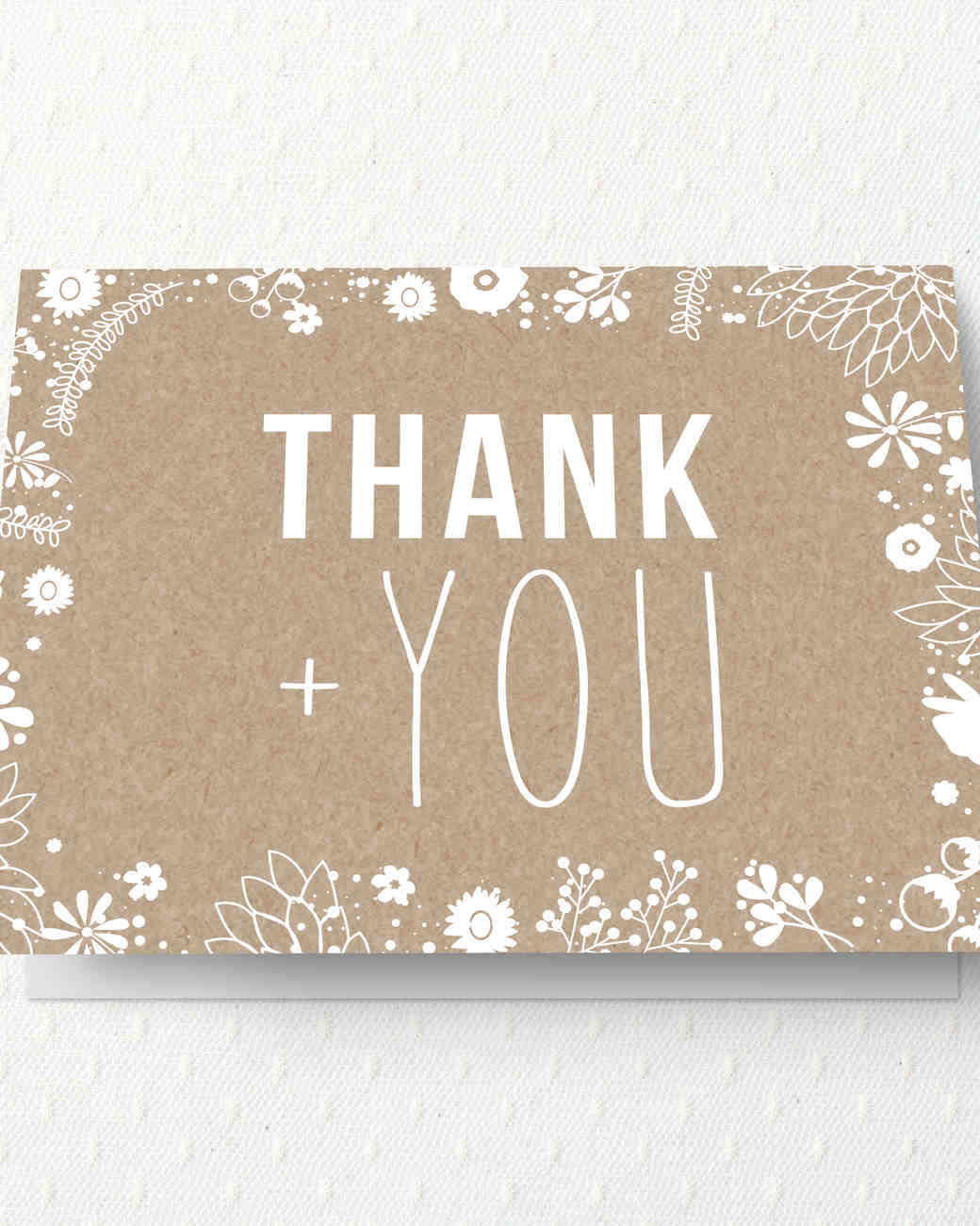 brown and white thank you note