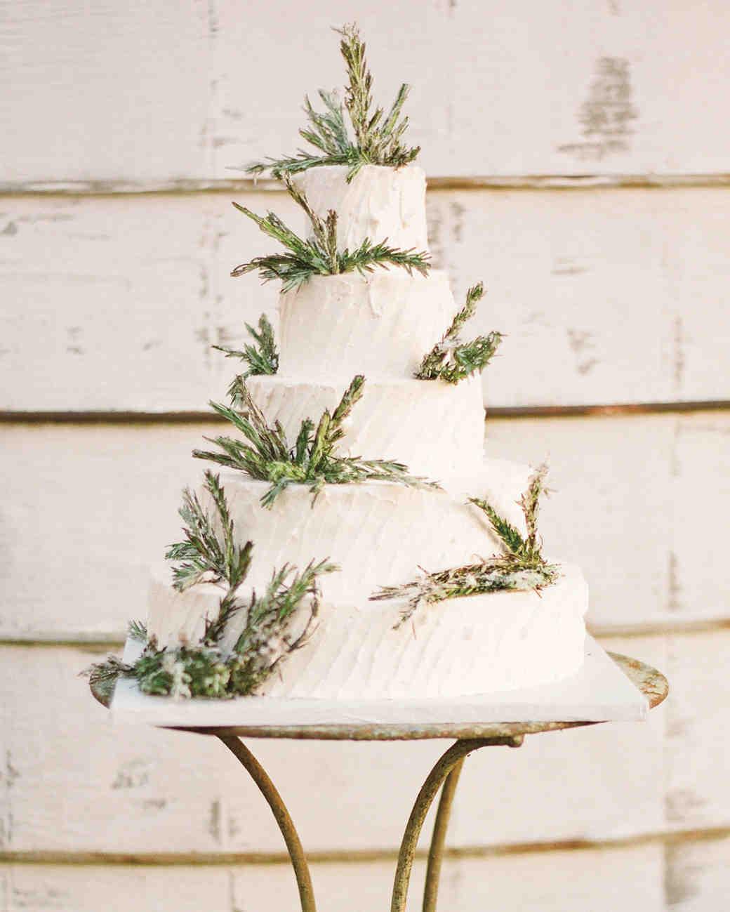 sugared rosemary sprigs wedding cake