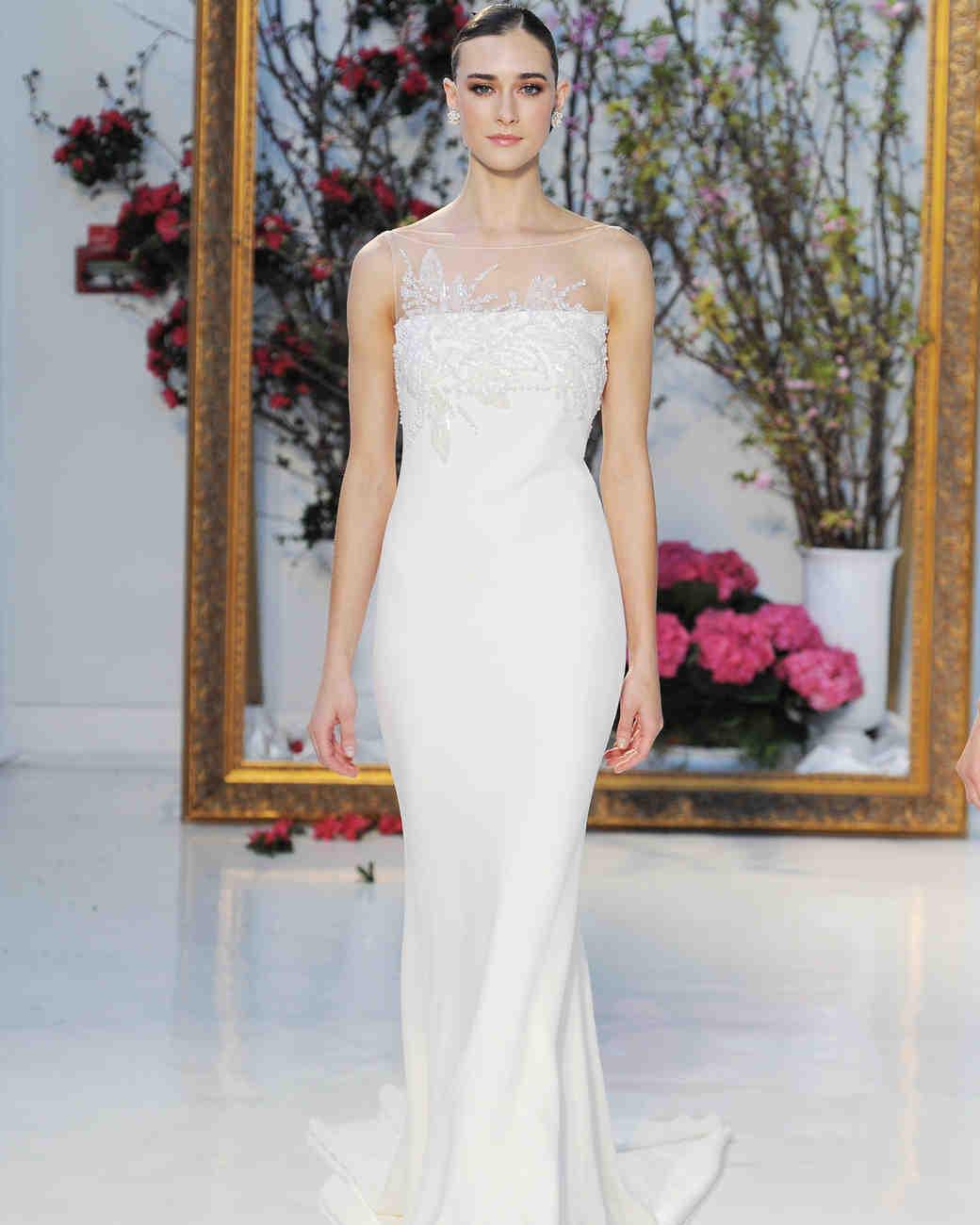 Anne Barge stretch crepe column wedding dress