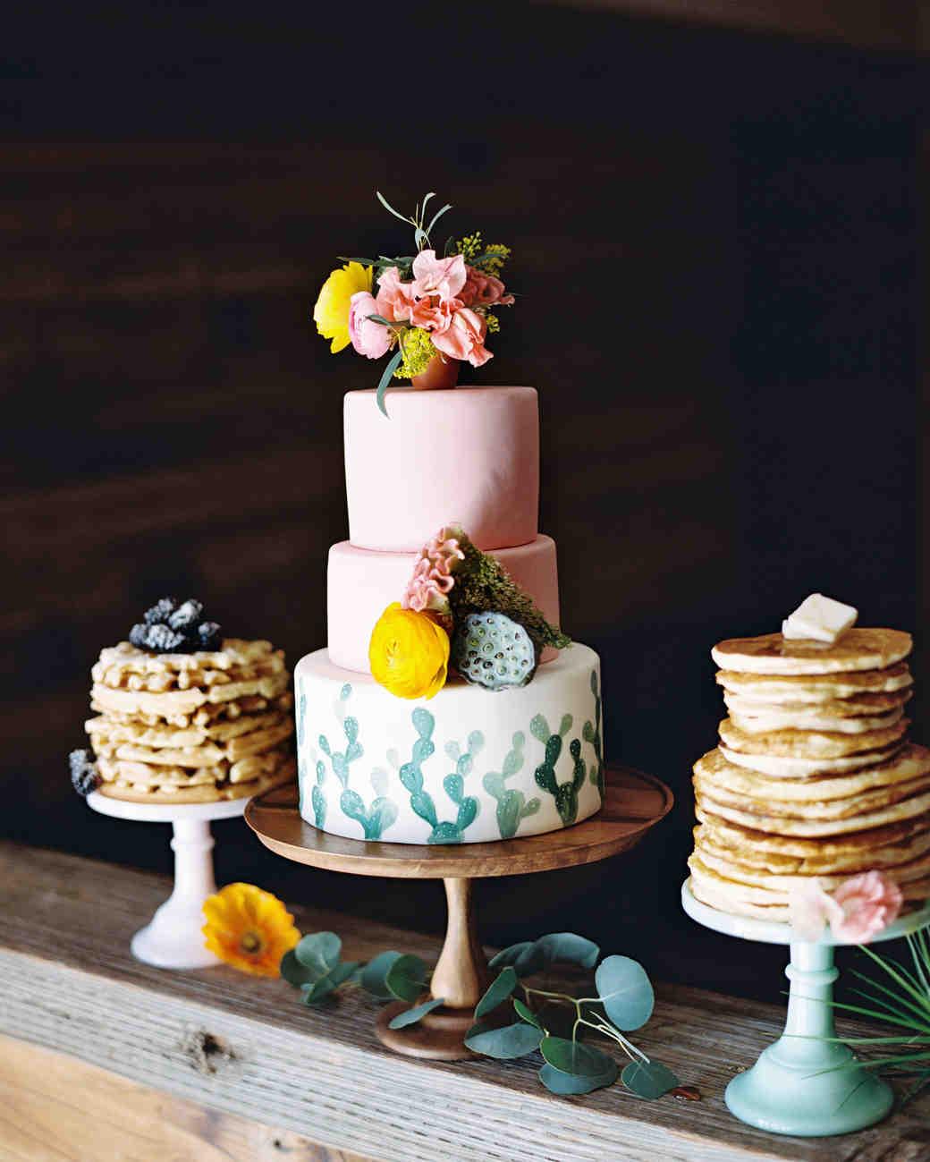 Wedding Cake Decorated with Cactus Motif