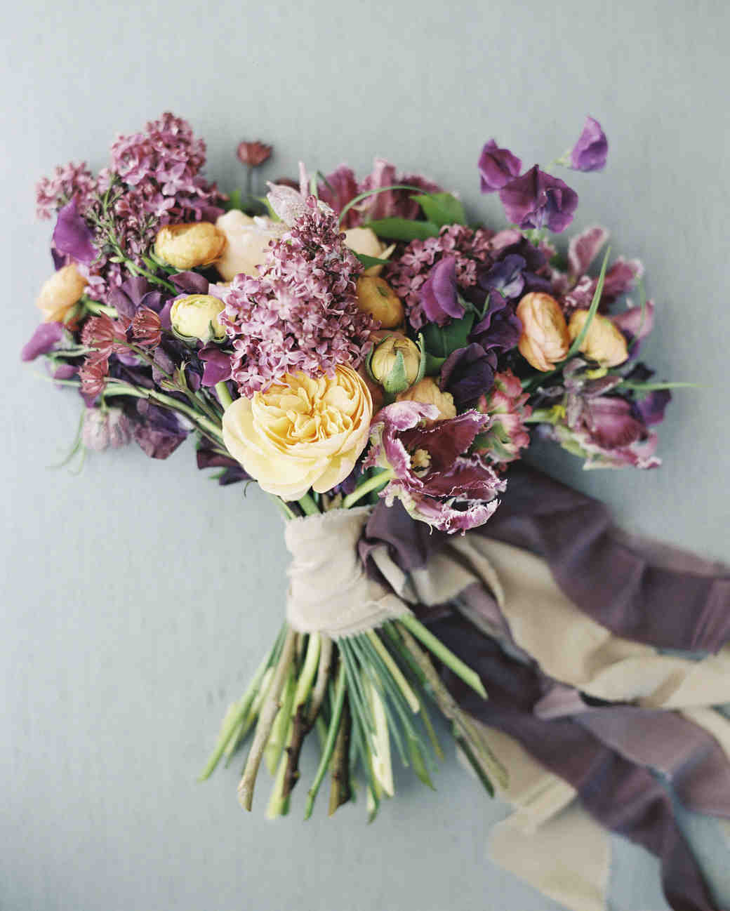 Dark Purple and Yellow Lilac Bouquet