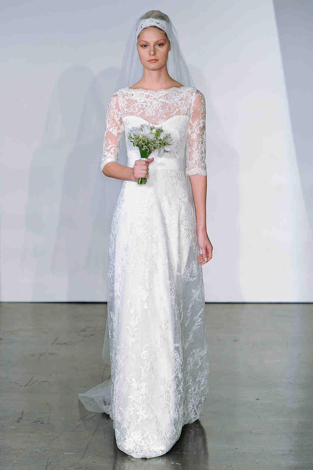 Three quarter sleeve wedding dresses fall 2013 martha for Three quarter wedding dresses