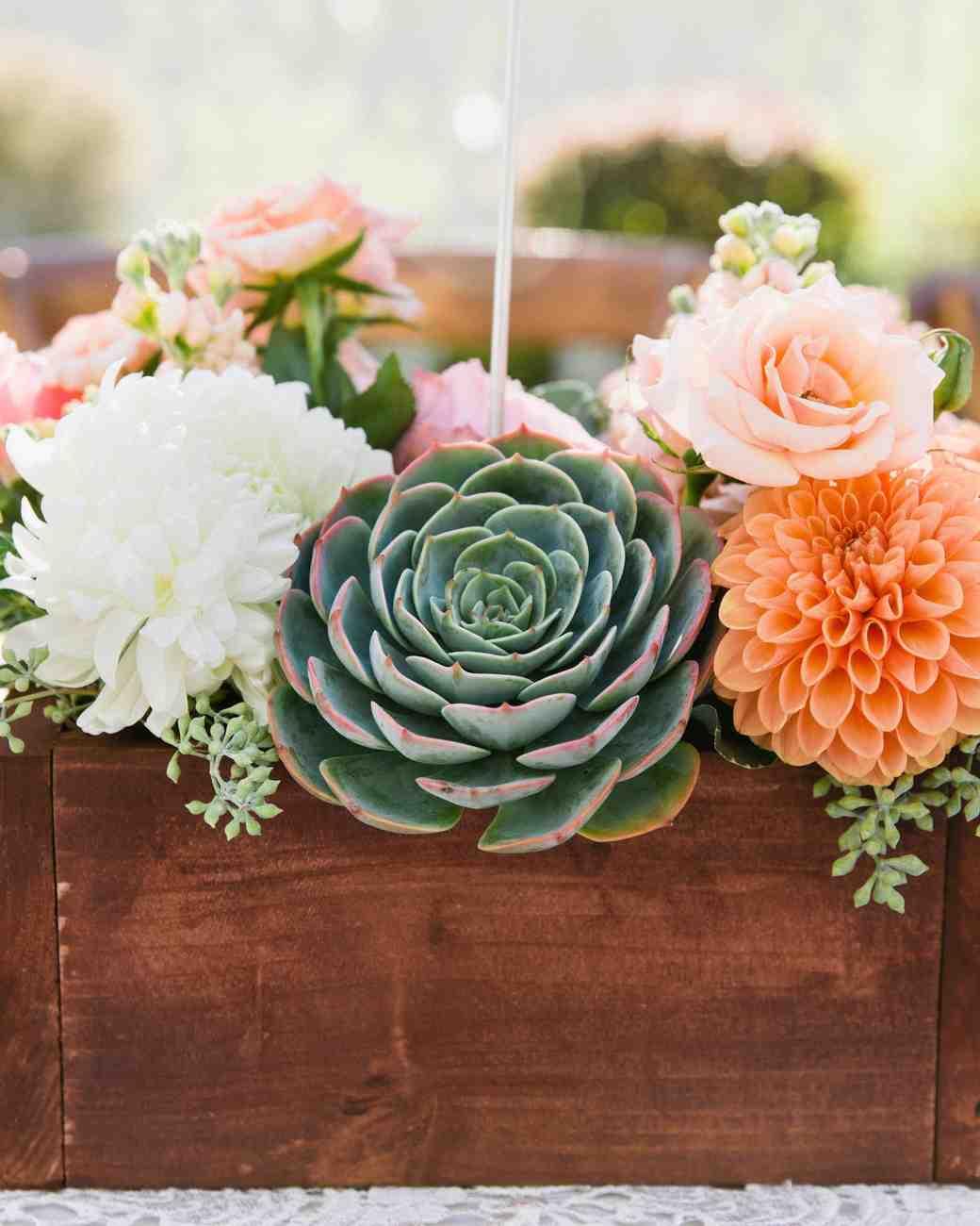 Bright succulent and dahlia summer wedding centerpiece