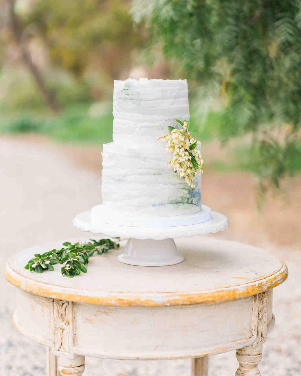 Gray and White Deckle-Edge Wedding Cake