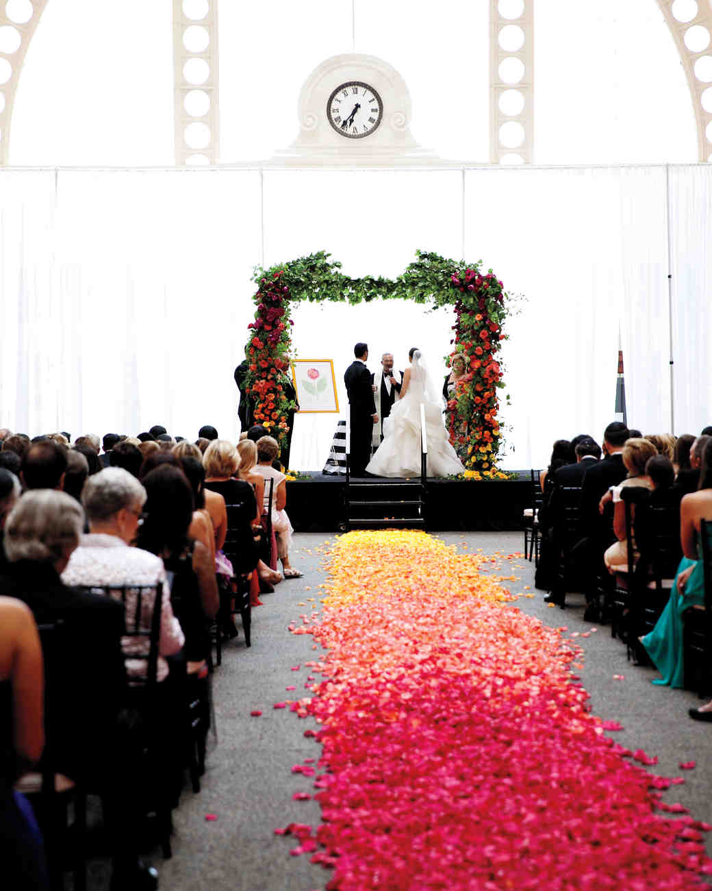 Ombré Rose Petal Ceremony Aisle