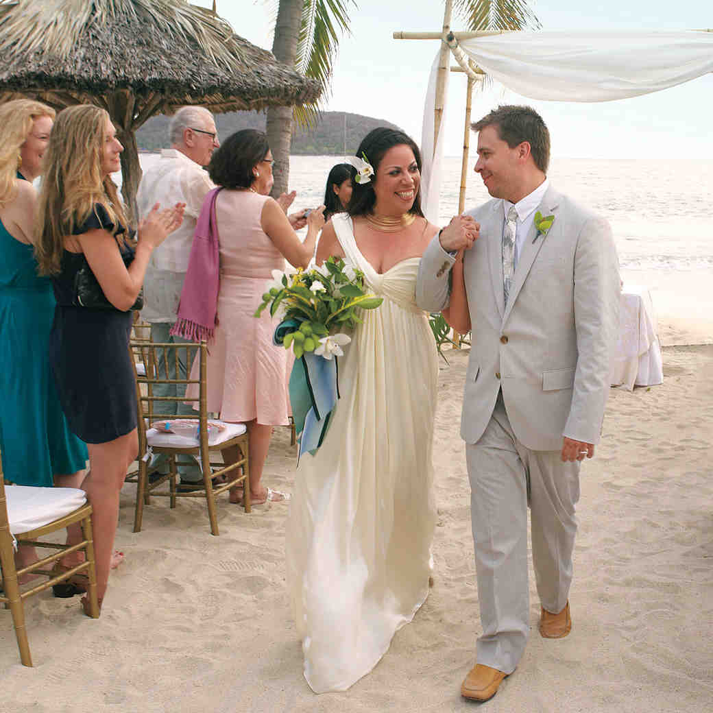A Navy-and-White Destination Wedding on the Beach in Mexico