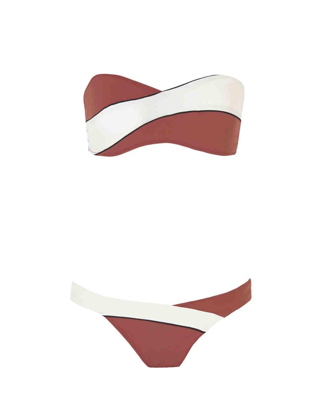 Red and White Colorblock Bikini