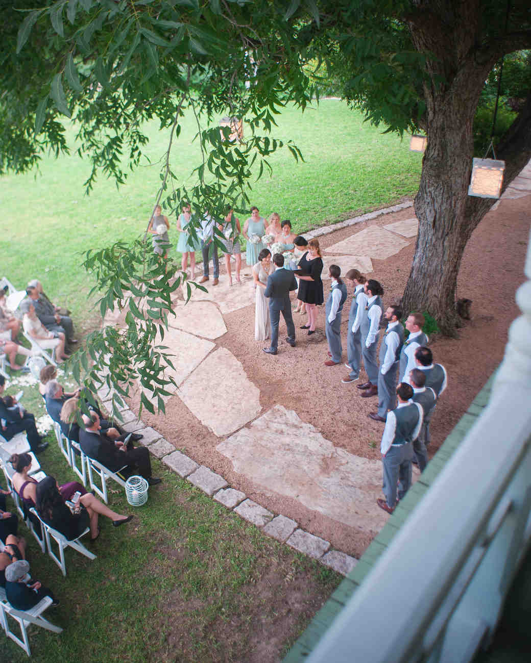Ceremony Under A Tree: A Modern Mint-and-Gold DIY Wedding In Austin