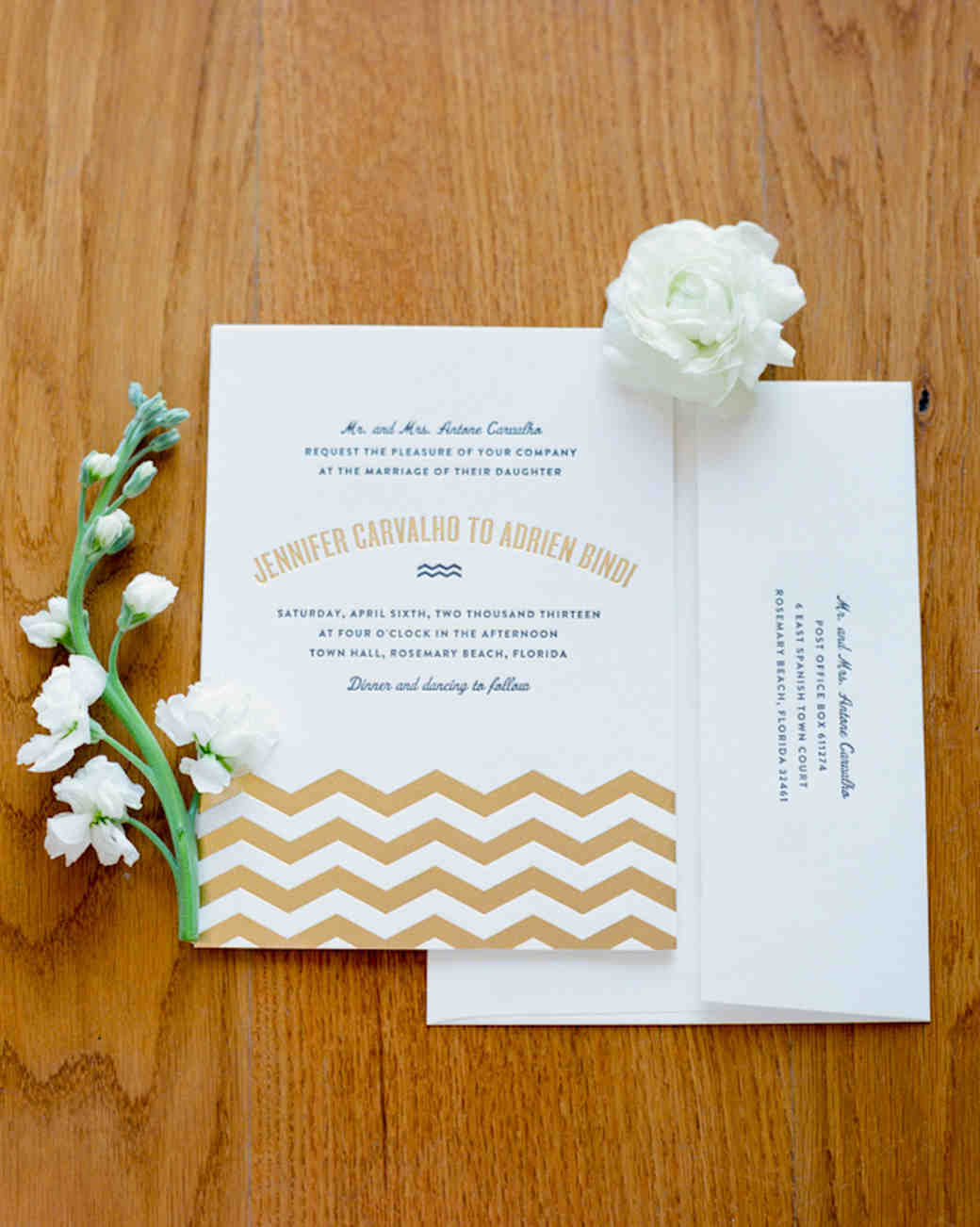 Invitation with Gold Chevron
