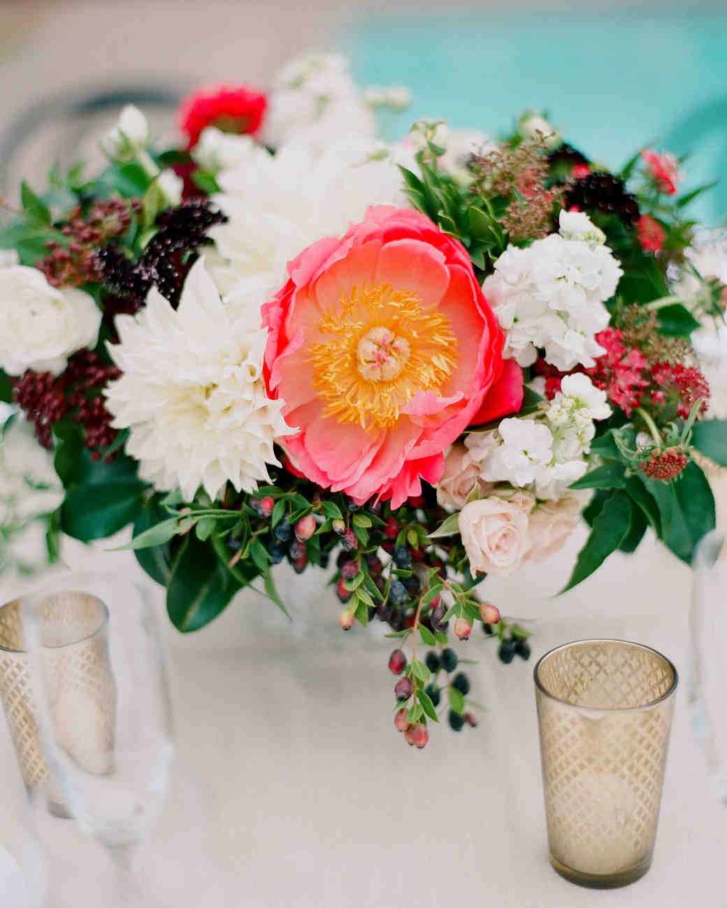 Pink and Green Centerpiece with Candle Accent
