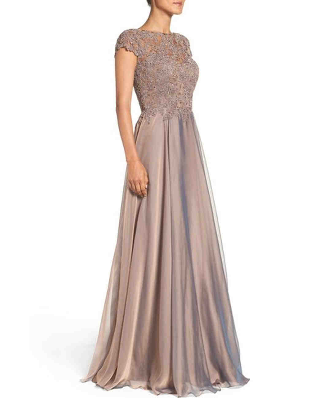 Satin Gown with Short-Sleeved Lace Bodice