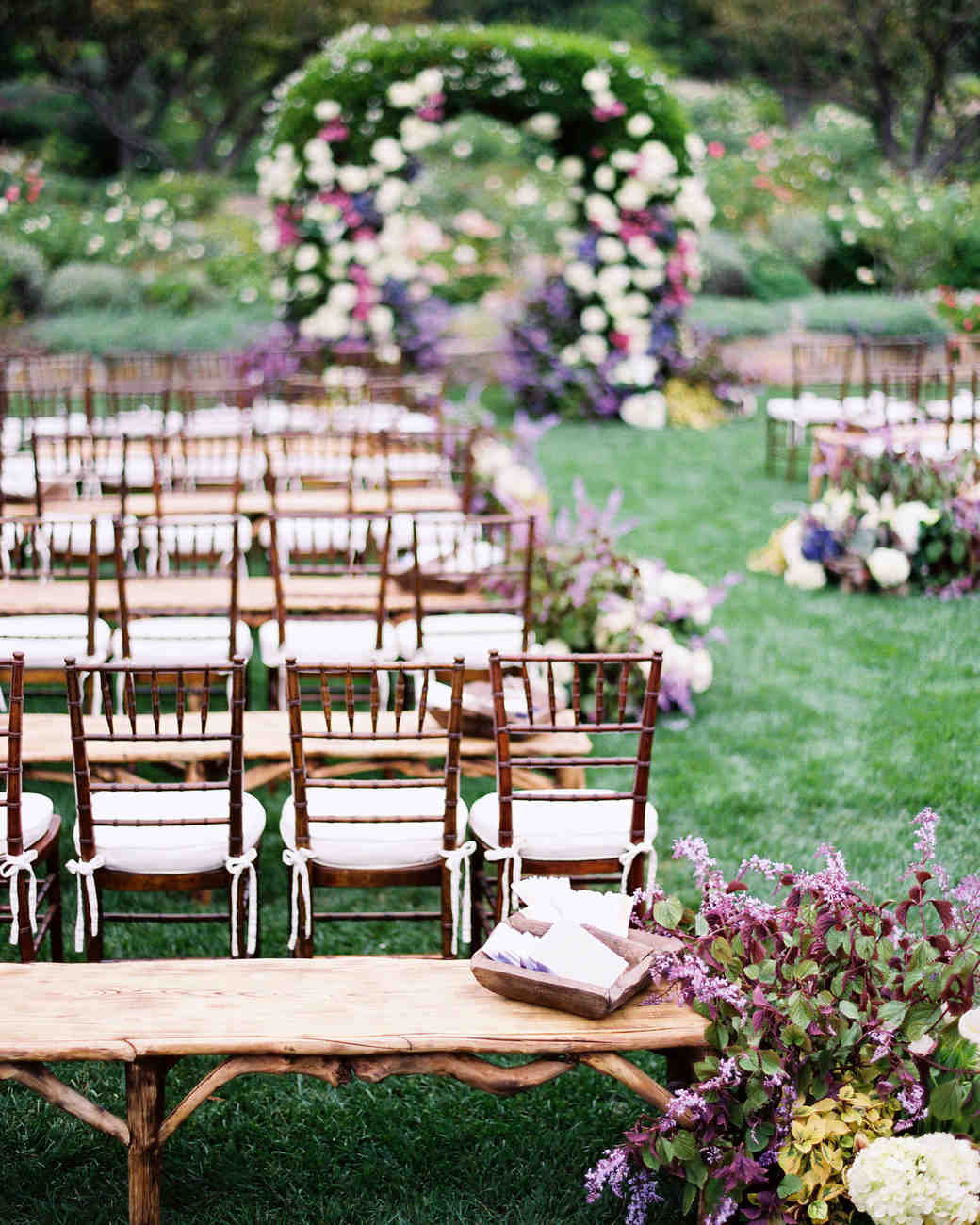 Ceremony Seating Reception: A Vintage Green-and-Lavender Outdoor Wedding In California