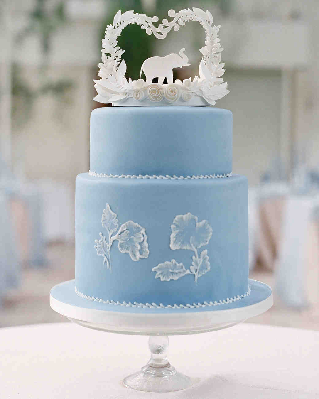 small blue wedding cake