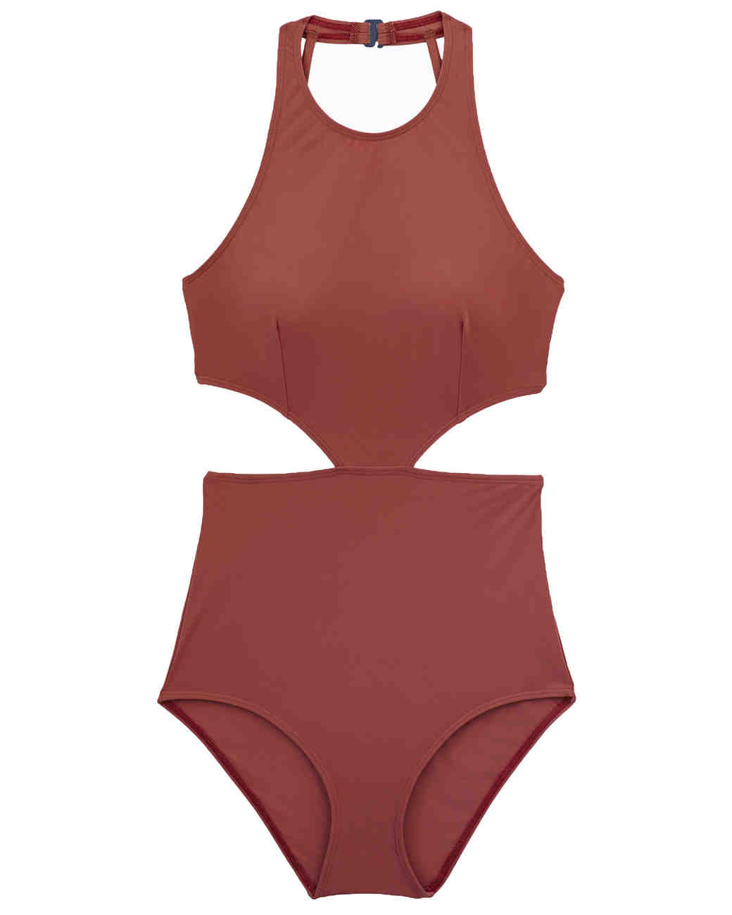 Rusty Red Cutout High-Neck Swimsuit
