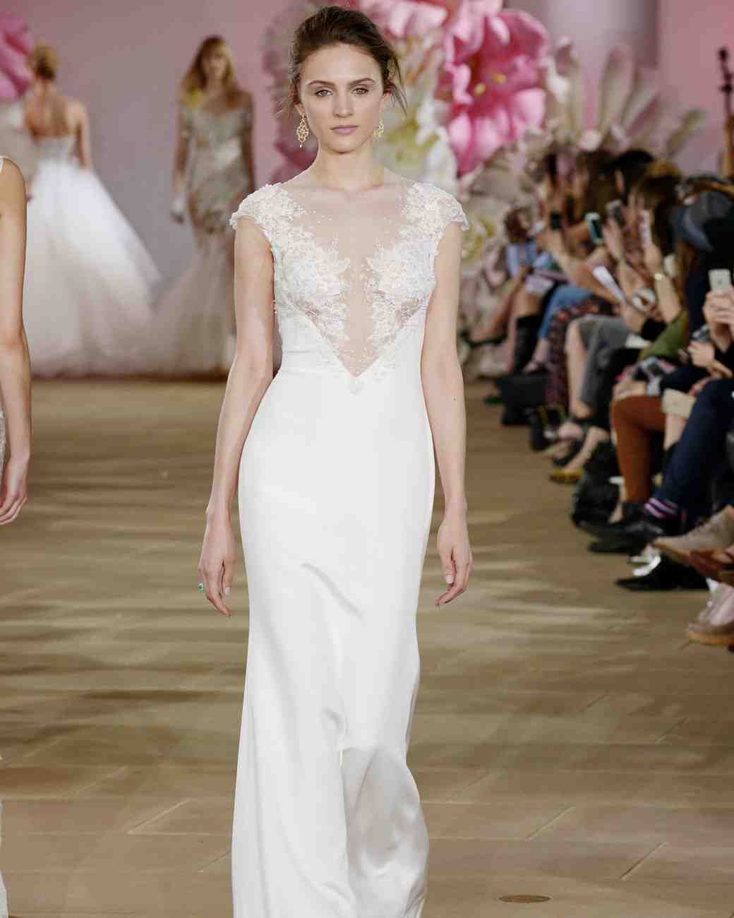 Ines di Santo simple illusion boat neck sheath wedding dress