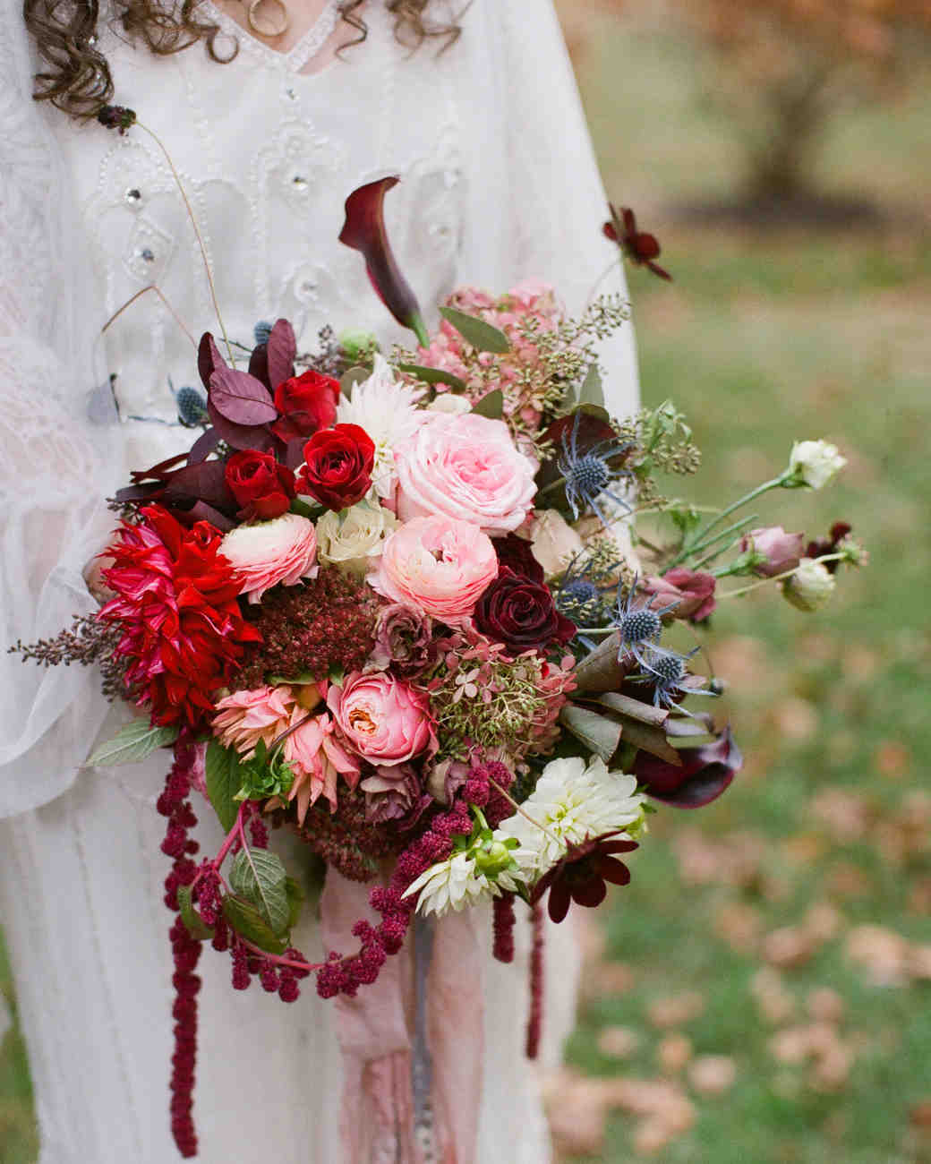 Bridal Bouquet with Deep Reds and Muted Pinks and Blues
