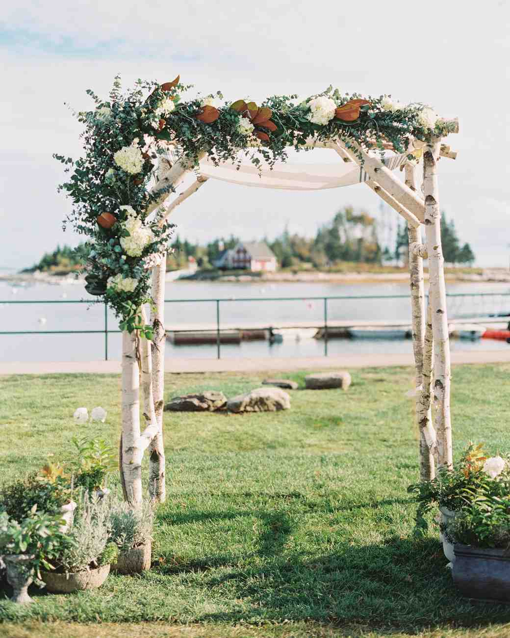 Birch Wedding Chuppah with White and Burnt Sienna Foliage