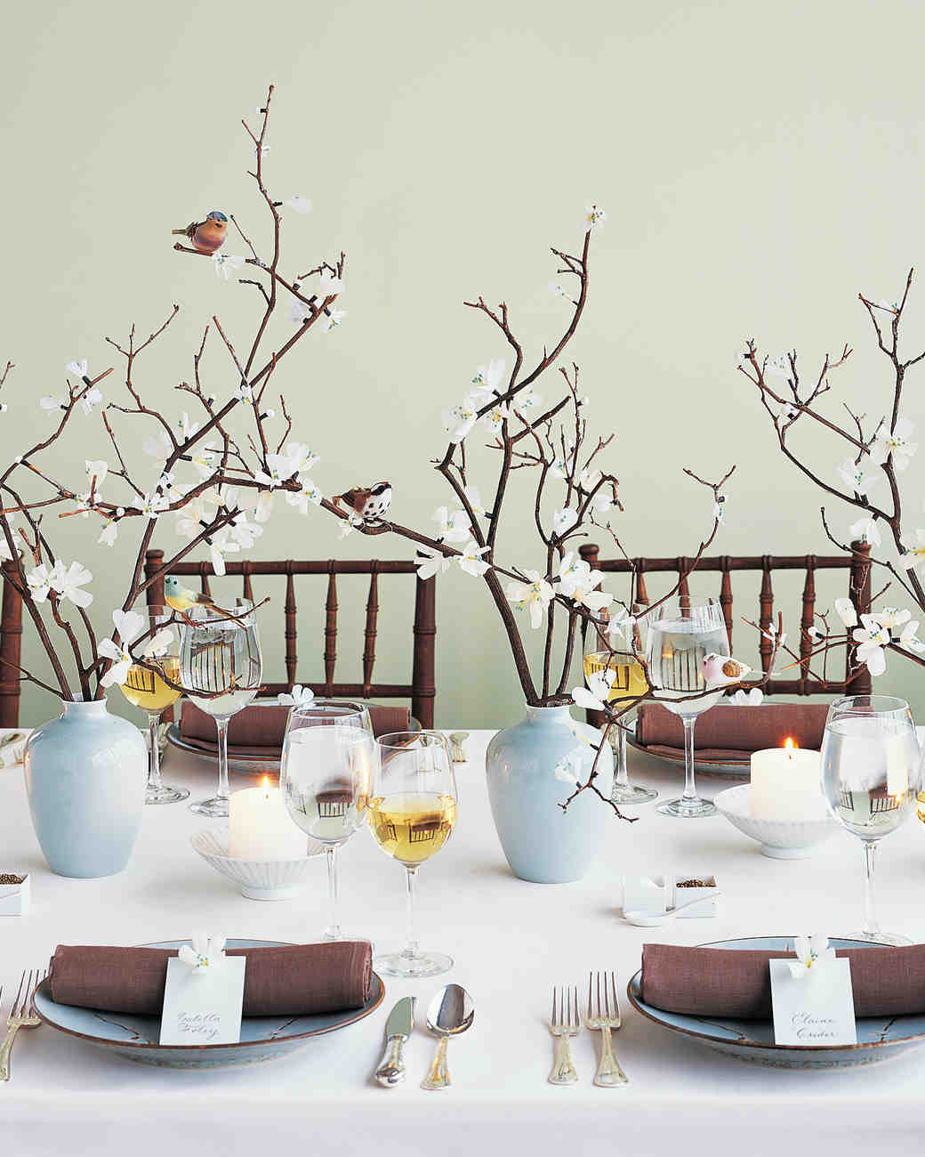 Branch Centerpiece with Flower Buds and Birds