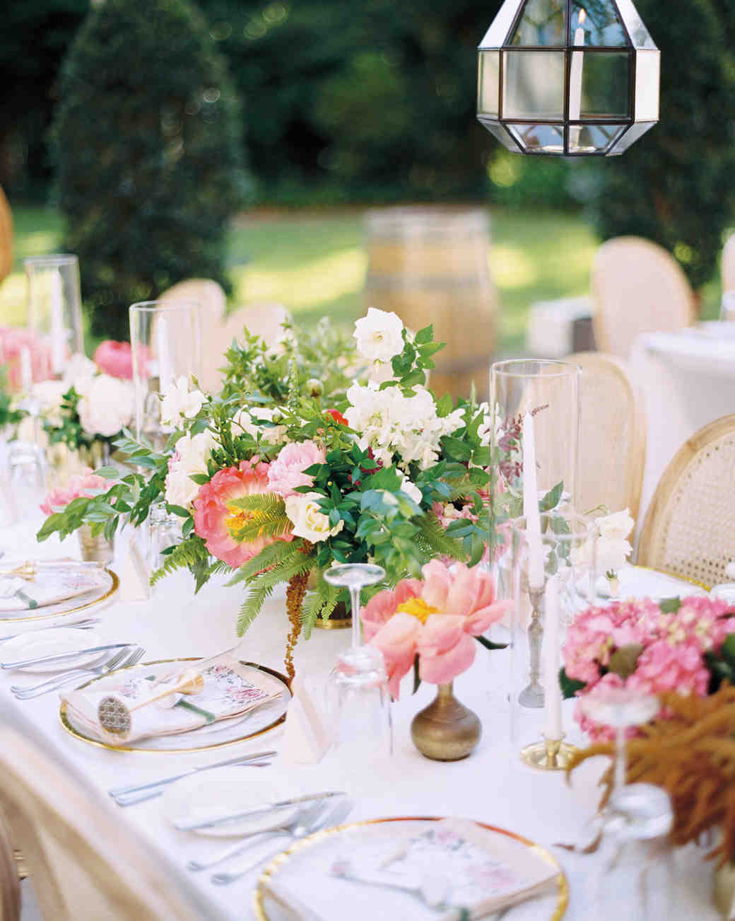 Cluster Centerpieces with Coral Charm Peonies
