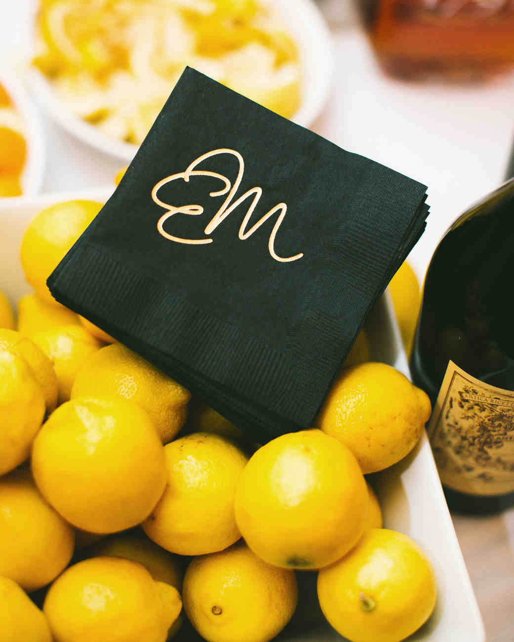 Green and Gold Monogrammed Cocktail Napkins