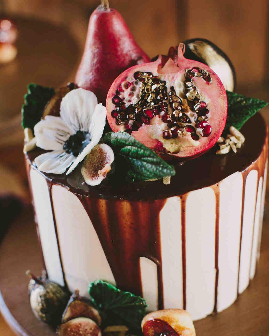 Wedding Cake with Fruit Decorations